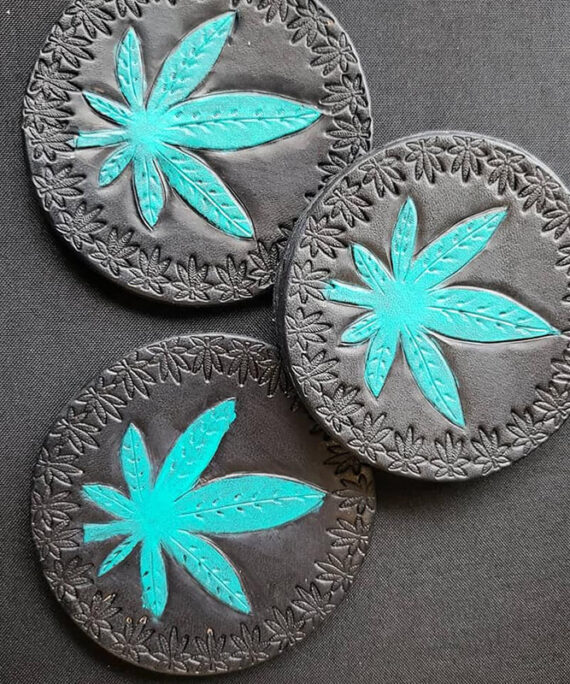 LEATHER CANNABIS COASTERS ~SET OF 4